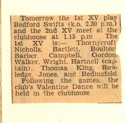 Milton Keynes 1st XV play Bedford Swifts