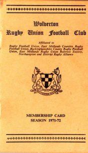 Wolverton Rugby Union Football Club Membership Card. 1971-72 Season