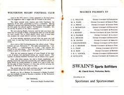 Wolverton Rugby Club Programme No. 645 for Maurice Palmer's Invitation XV versus Wolverton Combined XV