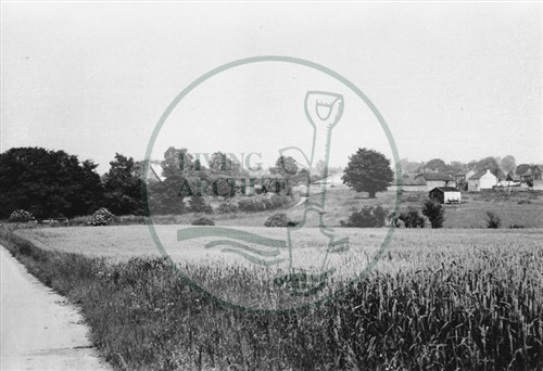 Photograph of Bradwell Abbey farm and farmlands Old Bradwell (1971).