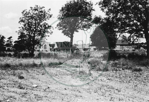 Photograph of Old Bradwell church and Manor Farm (1971).