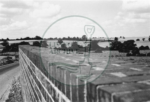 Photograph of fields taken from railway bridge at Old Bradwell (1971).