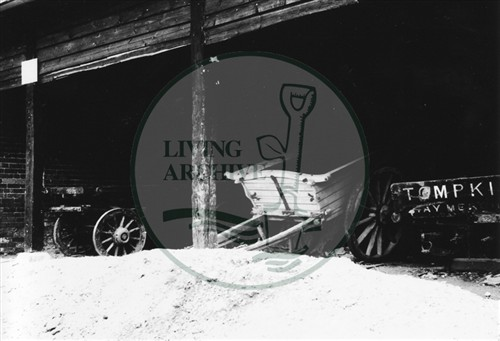 Photograph of old carts at Stacey Hill Farm Wolverton (1971).