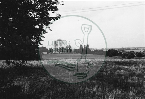 Photograph of farmland at Stacey Hill Farm and the Gables flats at Wolverton(1971).