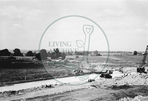 Photograph of building site alongside A5 road at Stony Stratford (1971).