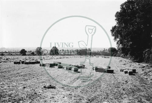 Photograph of fields next to A5 road looking towards Stony Stratford (1971).