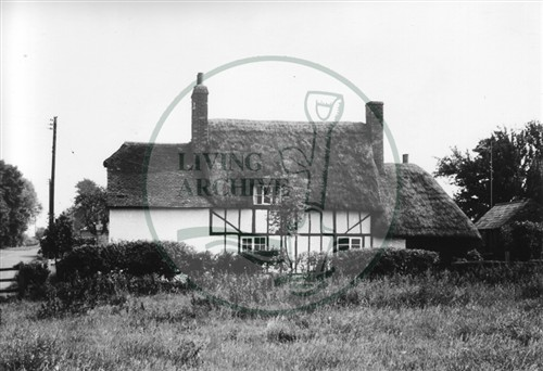 Photograph of half timbered thatched cottage in Milton Keynes Village (1971).