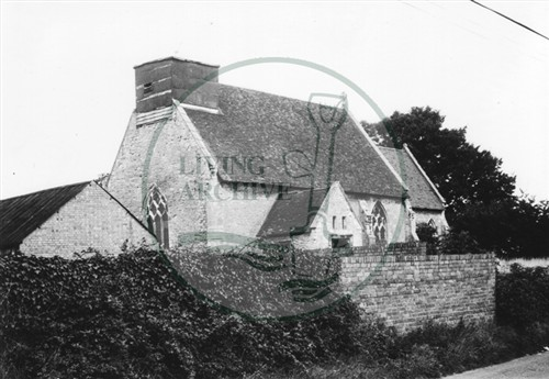 Photograph of 14th century Woolstone Church (1971).