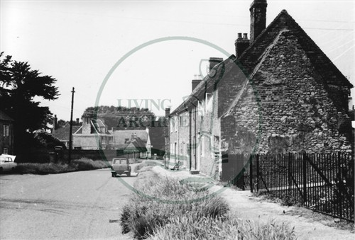 Photograph of Great Linford village properties looking towards the Manor (1971).