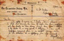 Memorandum from the Daventry Co-operative Society.
