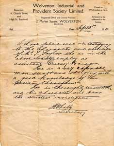 Letter from the Wolverton Industrial and Provident Society.