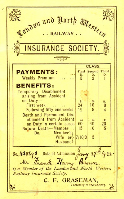 London and North Western Railway Insurance Society booklet.