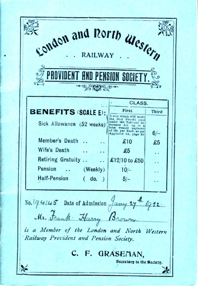London and North Western Railway Provident and Pension Society booklet.