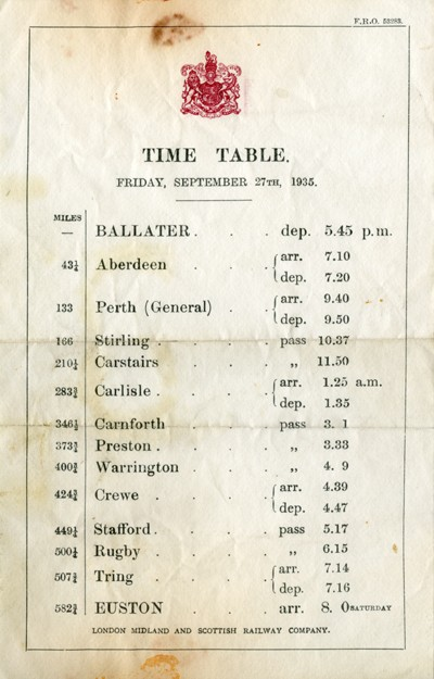 Timetable from the Royal Train.