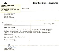 British Rail Engineering letter about redundancy.