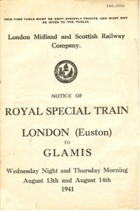 Royal Train timetable.