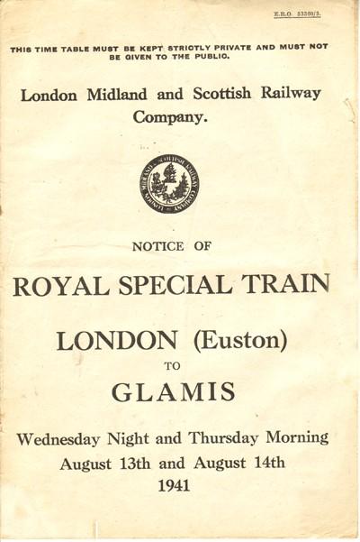 Royal Train timetable.