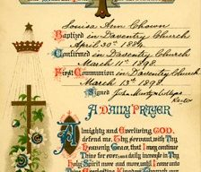 Baptism and Prayer Card for Louisa Ann Chown.