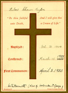 Baptism card for Hubert Chown Taylor.