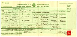 Certificate of Marriage between Frank Brown and Beryl Taylor.