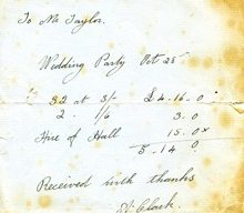 Receipt for hire of hall