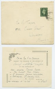 Wedding invitation for Maisie Agnes Brown.