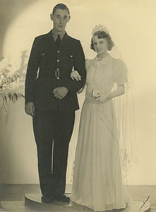 Walter Eric Brown and Muriel Churcher on their wedding day.