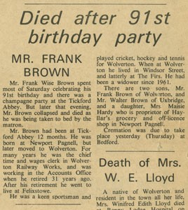 Died after 91st birthday party