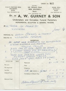 Order form from A  W  Gurney and Son.