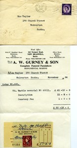 Receipt from A.W  Gurney and son in envelope.