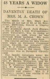 48 years a widow Daventry death of Mrs M. A. Chown