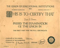 The Union of Educational Institutions certificate 1923.