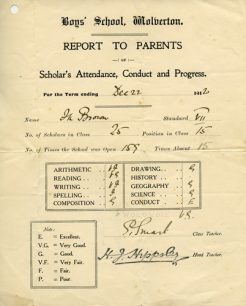 School report to Parents, December 1920.