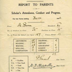 School report to Parents, December 1920.
