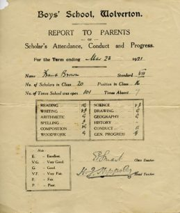 School report to Parents, March 1921.