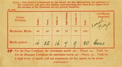 Appointment card for pianoforte examination.