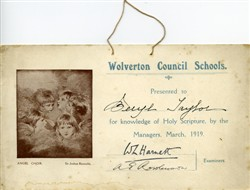Wolverton Council School certificate.