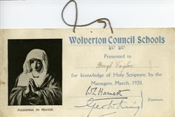 Wolverton Council School certificate.
