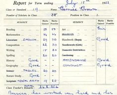 Wolverton Junior School report 1952.