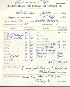 Wolverton Junior School report 1953.