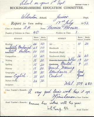 Wolverton Junior School report 1953.