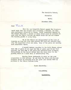 Letter from the Radcliffe School.