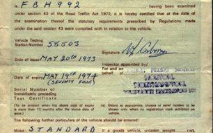 M.O.T. test certificate.