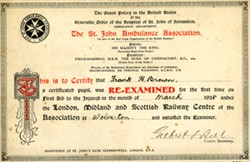Certificate from St. John Ambulance Association.