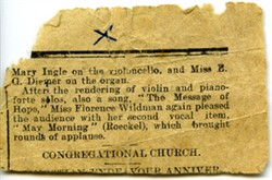 Newspaper article about Miss Florence Wildman.