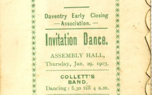 Daventry Early Closing Association Invitation Dance Card.