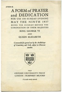 Service programme for the coronation of George VI and Queen Elizabeth.