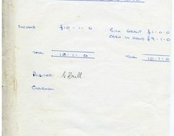 Balance sheet  from the Ruling Department Combined Chapel.