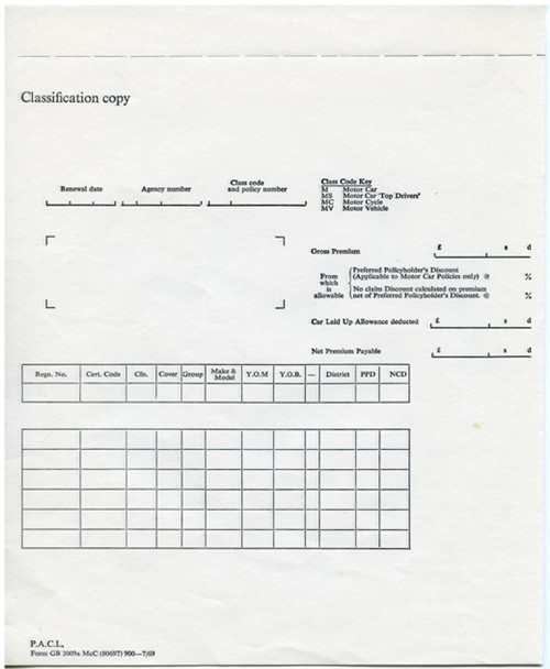 Classification copy sheet.
