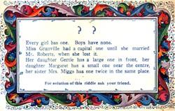 Riddle postcard.